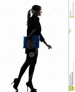 Business Woman Holding Folders Files Walking Silhouette ...