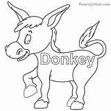 Donkey Coloring Getdrawings Printable Getcolorings sketch template