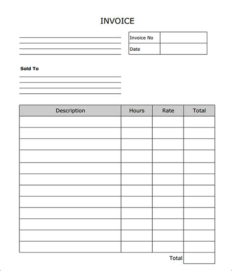 invoice template blank invoice to print free to do list