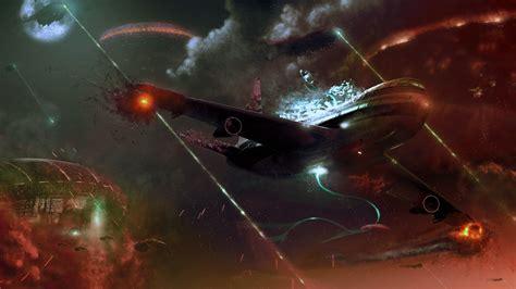airplane crash digital art fantasy art aliens