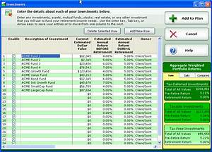 retirement income planning spreadsheet retirement planning software screenshots and sample