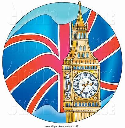 London Ben Clock Tower Clipart Flag British