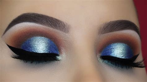 brown  blue halo eye makeup tutorial youtube