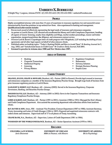 arranging a great attorney resume sle