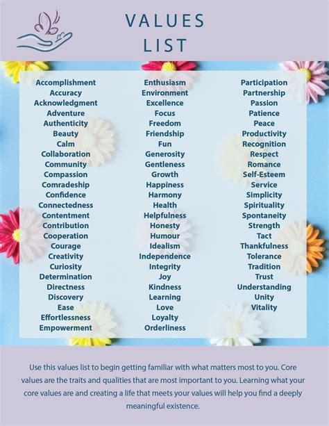 Values List - Psych Company
