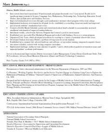 elementary school principal resume templates sle resumes for principals