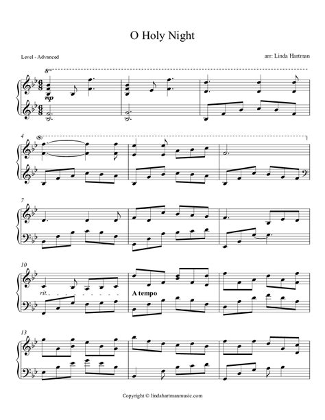 Now you can play the sheet music to o holy night on almost any musical instrument using the files found below. O Holy Night (by Linda Hartman -- Piano Solo)