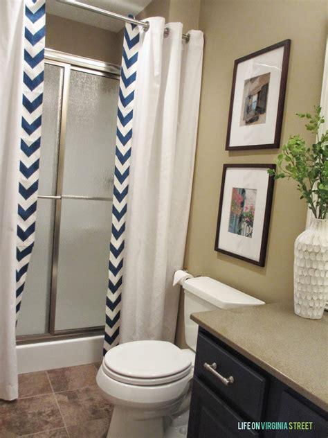 guest bathroom  sew shower curtain tutorial life