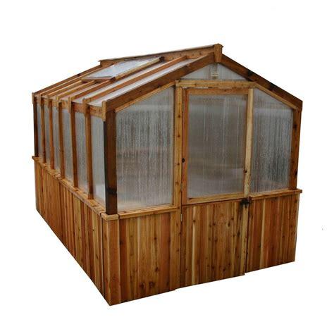 outdoor ls home depot outdoor living today cedar 8 ft x 12 ft greenhouse kit