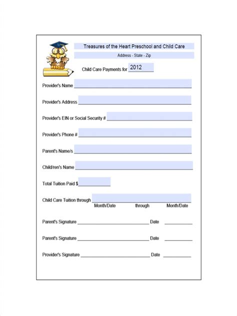 daycare receipt examples samples examples