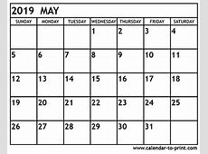 May 2019 Calendar Canada – printable month calendar