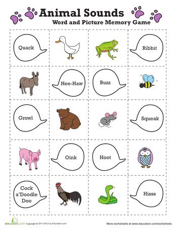 easy animal memory worksheets skill and
