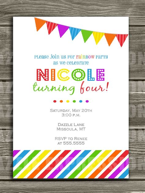 a birthday invitation invitation rainbow 2nd birthday party rainbow pinterest