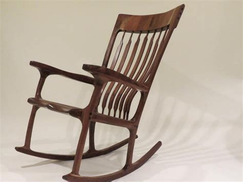 sam maloof inspired walnut rocking chair by