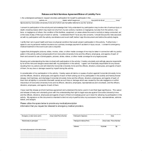 Hold Harmless Waiver Template by Waiver Of Liability And Hold Harmless Agreement Template