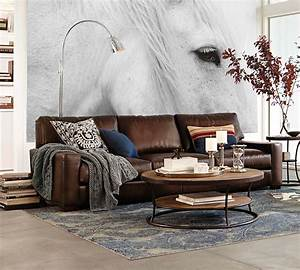 Sofas sectionals pottery barn turner square arm leather for Pottery barn turner sectional sofa