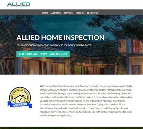 home inspection website templates  home inspection web