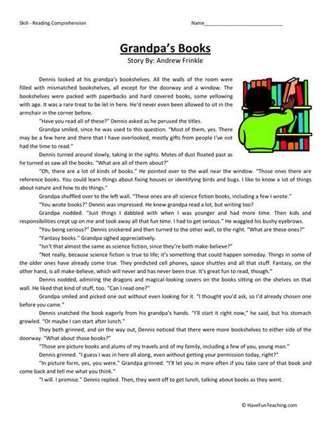 Reading Comprehension Worksheet  Grandpa's Books