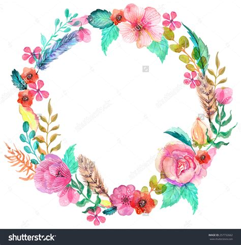 flower watercolor wreath for beautiful design stock tags wreaths and