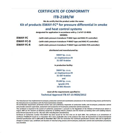 sample conformity certificate template   documents
