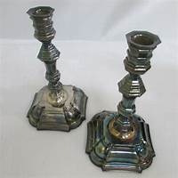 silver candlestick holders Silver Taper Georgian Candle Candlestick Holder Set ...