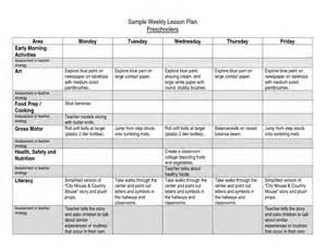 Sample Preschool Lesson Plan Template