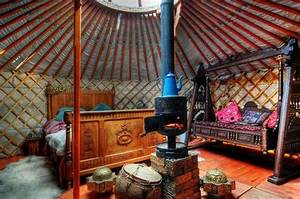 Country Ceiling Designs Interesting Central Wood Stove Yurts And Spaces