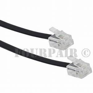 14ft Telephone Line Cord Cable Wire 6p4c Rj11 Dsl Modem
