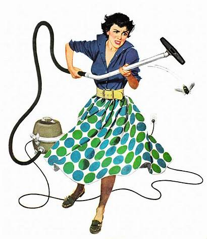 Housewife Retro Roger Wilkerson Cleaning Funny Vacuum