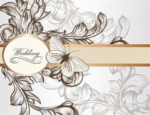 vintage wedding card design free vector | Art of ...