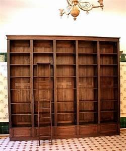 Bücherwand Mit Leiter : b cherwand eiche massivholz mit leiter 300x350x35cm ~ Markanthonyermac.com Haus und Dekorationen