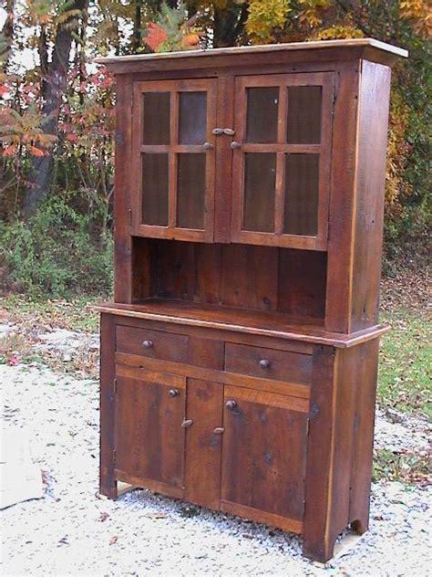 barnwood stepback hutch  glass doors