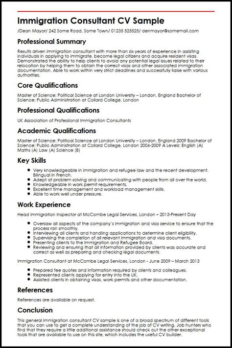 immigration consultant cv sle myperfectcv