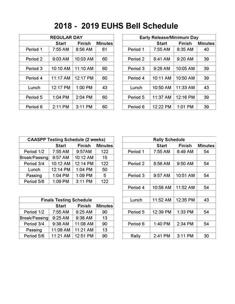 bell schedule exeter union high school