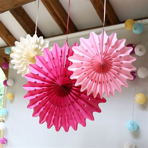 pastel paper fan decoration set  red lilly