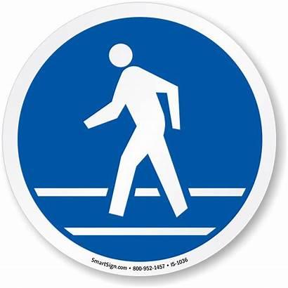 Pedestrian Route Iso Mandatory Symbol Circle Indicatoare