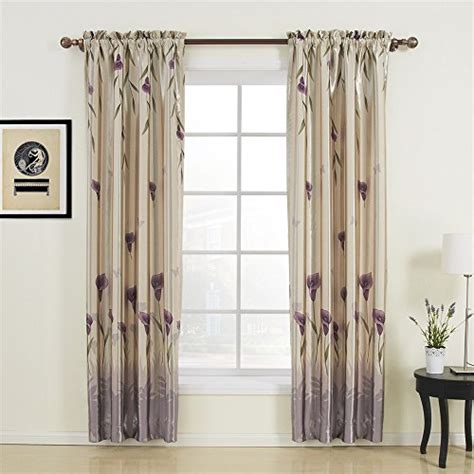 iyuego floral polyester purple blackout rod pocket curtain