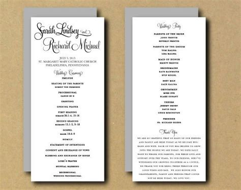 etsy wedding program template sale printable wedding program template whimsical