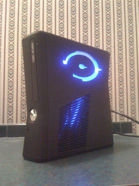 Xbox 360 Slim Custom Halo Mod W Blue Lights Ls1tech