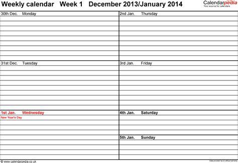 Weekly Calendar Template 2014 Excel Costumepartyrun