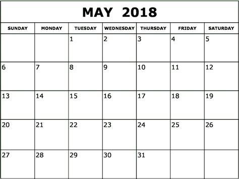2018 calendar template printable may 2018 monthly calendar printable