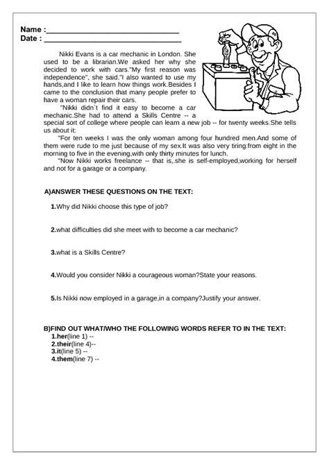 Jobs Reading Comprehension Worksheet