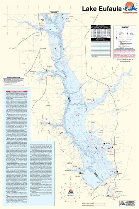 Lake Eufaula Map Alabamageorgia Waterproof Map Fishing
