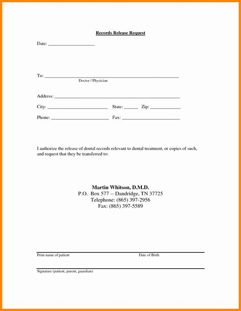 records release letter template exles letter