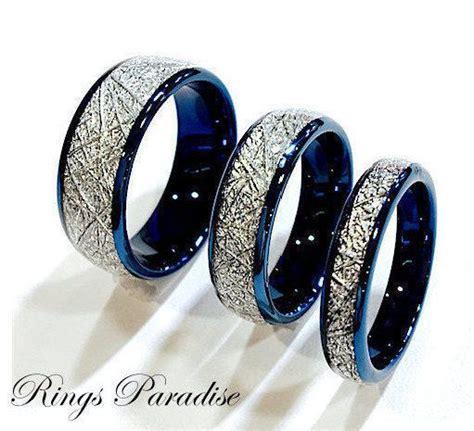 details  blue meteorite inlay tungsten wedding bands