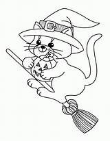 Coloring Witch Halloween Popular sketch template