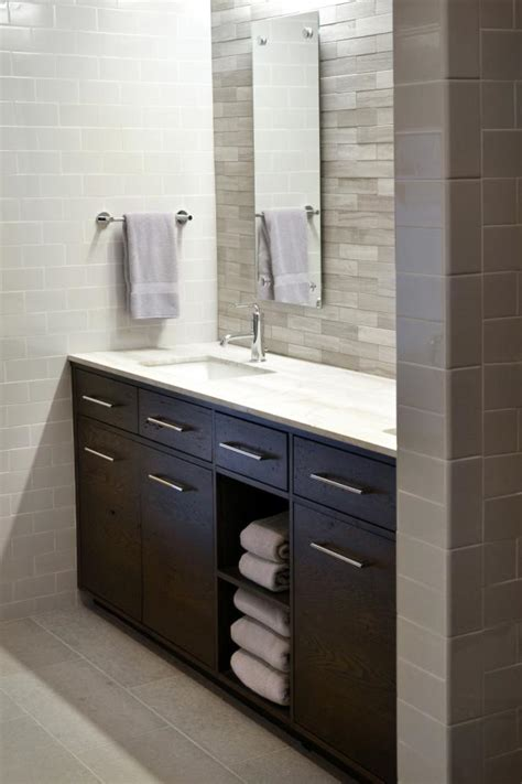 modern white bathroom  dark brown vanity hgtv