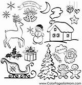 Christmas Silhouettes Coloring Elements Clipart Holiday Illustrations Vector Vacation Illustration Cartoon Pages Collage Clip Adult Adults Gift Children Background Coloringpages sketch template