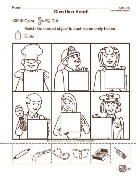community helpers cut paste worksheet 3 social studies