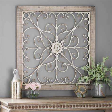 This diy metal hexagon wall art is the perfect way to add design to your home on a budget. Daphne Ornate Scroll Wood and Metal Wall Plaque in 2020 | Rustic wall art, Iron wall decor, Iron ...